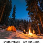 couple camping with campfire... | Shutterstock . vector #1254053386