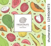 background with exotic fruits ... | Shutterstock .eps vector #1254064873