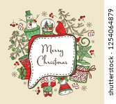 christmas and new year card... | Shutterstock .eps vector #1254064879