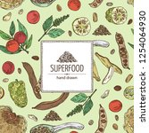 background with super food ... | Shutterstock .eps vector #1254064930