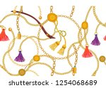 wide print with golden chains ... | Shutterstock .eps vector #1254068689