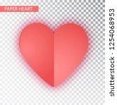 paper heart  isolated. vector... | Shutterstock .eps vector #1254068953