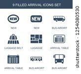arrival icons. trendy 9 arrival ... | Shutterstock .eps vector #1254080530