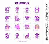 feminism thin line icons set ... | Shutterstock .eps vector #1254087196