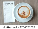 2019 goals word with hot... | Shutterstock . vector #1254096289
