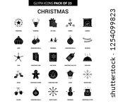 christmas glyph vector icon set | Shutterstock .eps vector #1254099823