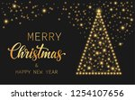text merry christmas and happy... | Shutterstock .eps vector #1254107656