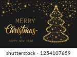 golden text merry christmas and ... | Shutterstock .eps vector #1254107659