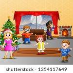 happy family celebration a...   Shutterstock .eps vector #1254117649