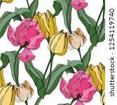 vector tulip engraved ink art....   Shutterstock .eps vector #1254119740
