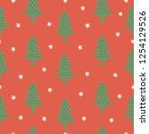 christmas tree vector seamless...   Shutterstock .eps vector #1254129526