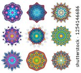 colorful mandala ornament... | Shutterstock .eps vector #1254146686
