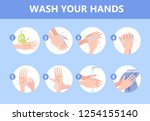 how to wash hand with soap... | Shutterstock .eps vector #1254155140