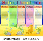 school timetable with marine... | Shutterstock .eps vector #1254165379