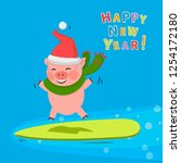 pig jump on the surfboard  in...   Shutterstock .eps vector #1254172180