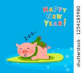 vector sleeping cut pig with a...   Shutterstock .eps vector #1254185980