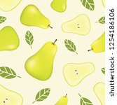 seamless pattern with pears.... | Shutterstock .eps vector #1254186106