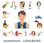 manipulation by hands cartoon... | Shutterstock .eps vector #1254186190