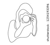 photographer continuous line... | Shutterstock .eps vector #1254193396