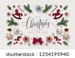 christmas postcard with... | Shutterstock .eps vector #1254195940