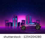 futuristic night city.... | Shutterstock .eps vector #1254204280