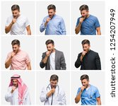 collage of young doctor arab... | Shutterstock . vector #1254207949