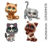 Stock photo kittens set isolated on white background 1254209470