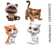 Stock photo kittens set isolated on white background 1254209473