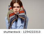 ailing woman covers her face... | Shutterstock . vector #1254222313