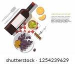 wine glass  wine bottle  olives ... | Shutterstock .eps vector #1254239629