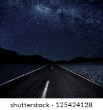 Highway And Starry Night In...