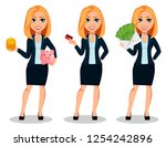 business woman in office style...   Shutterstock .eps vector #1254242896