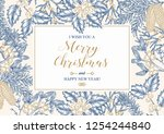 hand drawn christmas card with... | Shutterstock .eps vector #1254244840