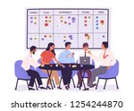 group of people or office... | Shutterstock .eps vector #1254244870