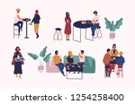 collection of people sitting at ... | Shutterstock .eps vector #1254258400