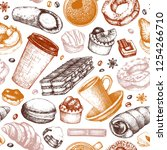 breakfast seamless pattern.... | Shutterstock .eps vector #1254266710