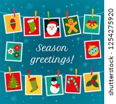 christmas poster or greeting... | Shutterstock .eps vector #1254275920