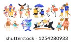 collection of happy parent and...   Shutterstock .eps vector #1254280933