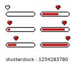 pixel art 8 bit heart love... | Shutterstock .eps vector #1254283780