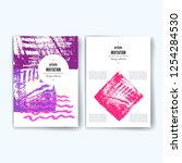 set of trendy posters with hand ...   Shutterstock .eps vector #1254284530