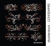victorian set of golden ornate... | Shutterstock .eps vector #1254304990