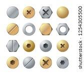 bolt heads. metal head pin nail ... | Shutterstock .eps vector #1254305500