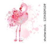 flamingo made of paint splatters | Shutterstock . vector #1254309109