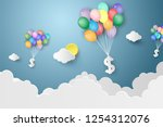 dollar hanging colorful balloon ...