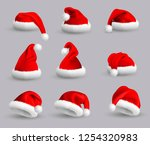 set of red santa claus hats... | Shutterstock . vector #1254320983