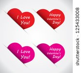 happy valentine heart label set ... | Shutterstock .eps vector #125433008