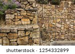 gabion wall with plands... | Shutterstock . vector #1254332899