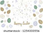 doodle decorative eggs and... | Shutterstock .eps vector #1254333556