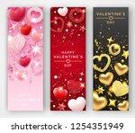 three valentines day vertical... | Shutterstock .eps vector #1254351949