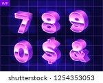 80 s retro alphabet font.... | Shutterstock .eps vector #1254353053